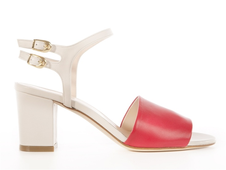 White - pink leather sandals