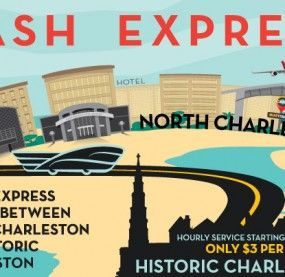 Welcome to NASH The North Area Shuttle - get to the airport from downtown! 1)    Route 4 NASH Express It's only $3 to ride.  This is an Express  with limited stops Stops include: Airport, N. Charleston Visitors' Center, Tanger Outlets and the Downtown Visitor Center. services to run 7 days a week from about 8am-12mid.  Service frequency is 1 hour Gets you to the airport or downtown in about 30 minutes     As with other services, MUSC and CofC ride for free with ID