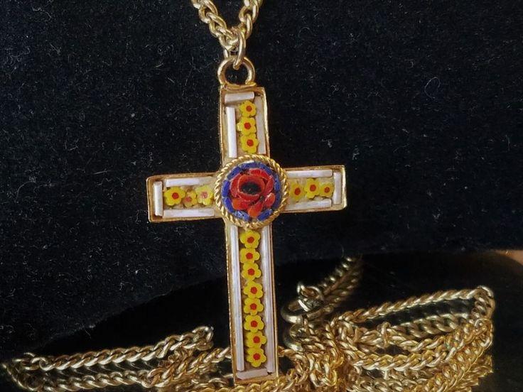 Vintage Millefiori Micro Mosaic Cross Crucifix Pendant Gold GF Necklace ITALY #Italy #Pendant