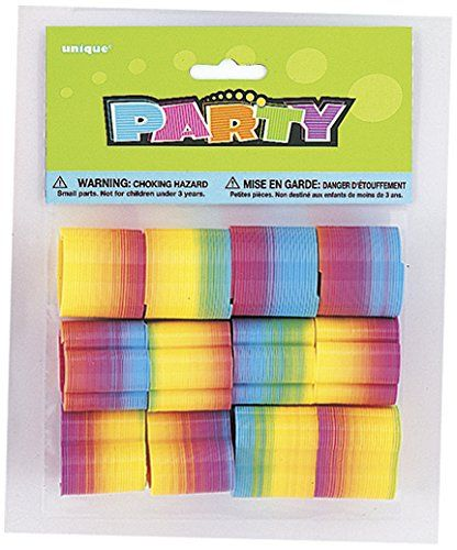 Mini Rainbow Plastic Spring Toy Party Bag Fillers, Pack of 4