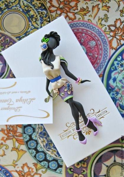 """Купить комплект:брошь"""" Долорес"""",платок отлож. - разноцветный, подарок девушке, подарок женщине, модный аксессуар"""