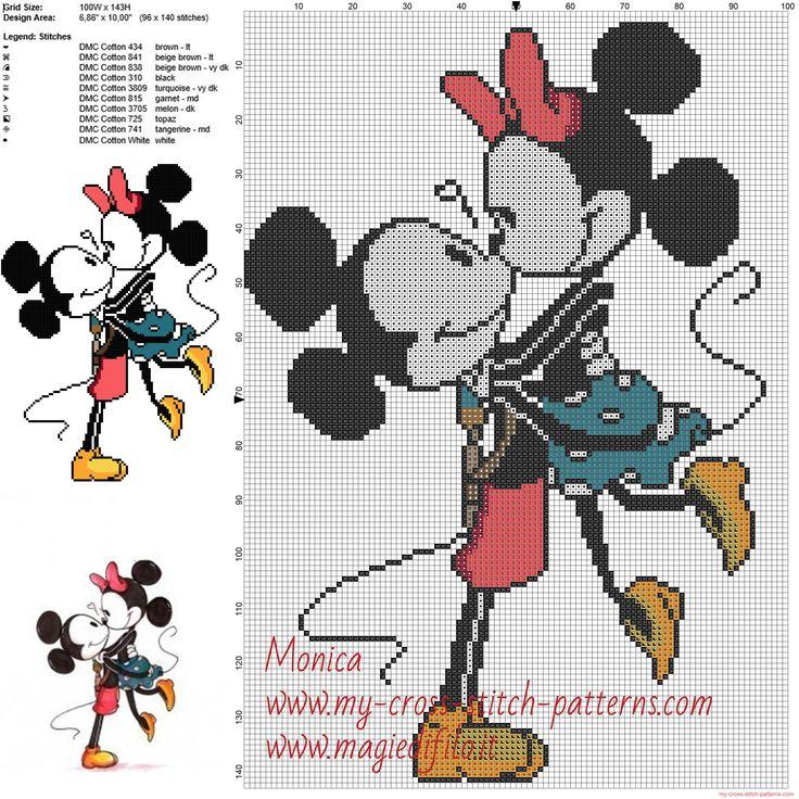 Mickey Mouse y Minnie patrones ponto de cruz