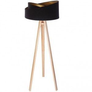 Lampa Podłogowa Emi Czarno Złoty Welurowy Abażur Drewniany