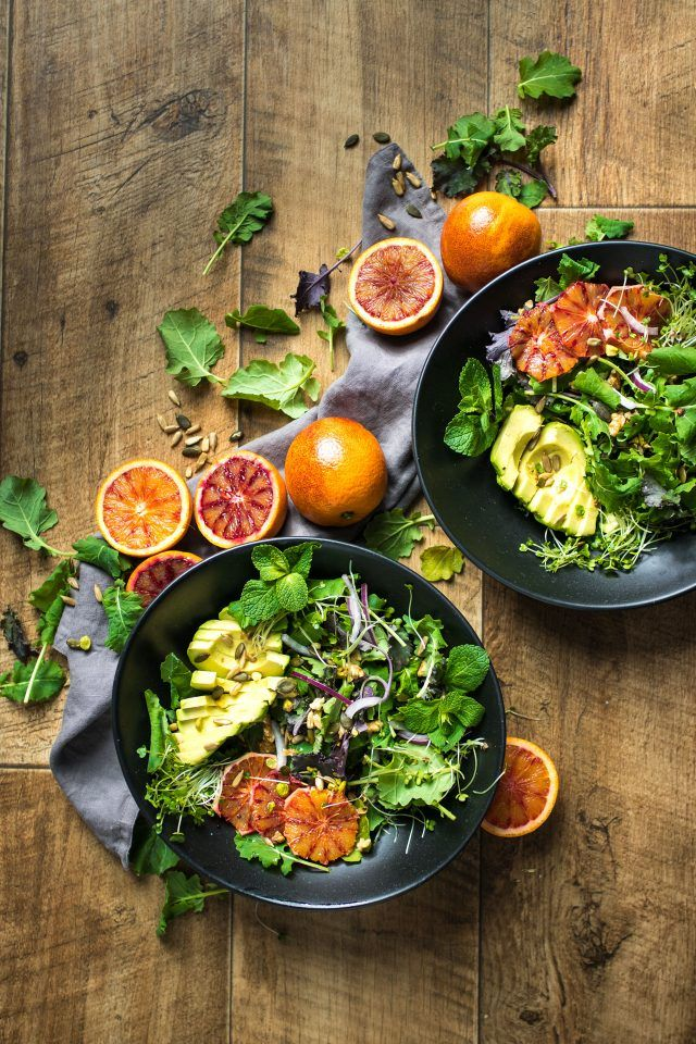 A delicious, winter salad featuring blood oranges and balsamic vinegar