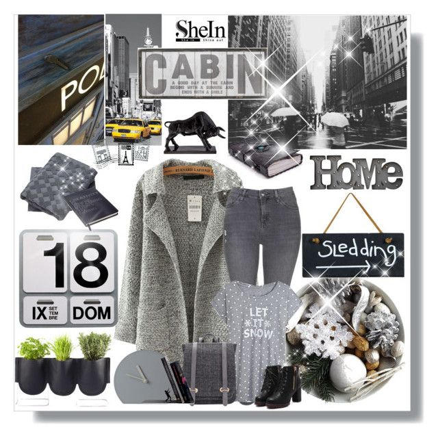 """Win Grey Sweater Coat with SheIn!"" by bellamonica ❤ liked on Polyvore featuring Danese, Topshop, Authentics, Dot & Bo, Universal Lighting and Decor and Menu"