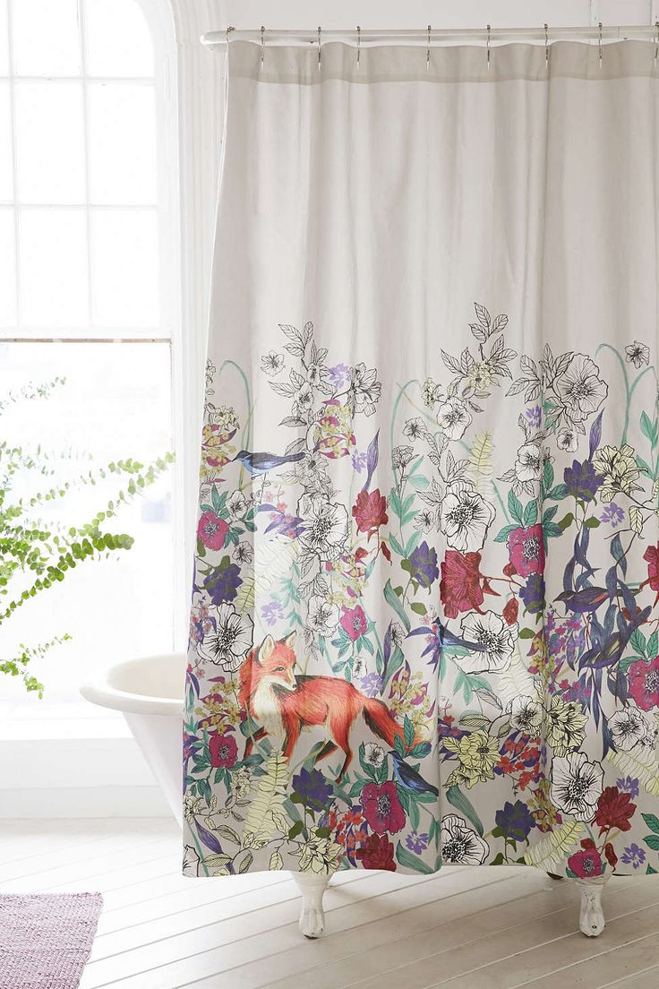 Anthropologie floral shower curtain - Plum Bow Forest Critters Shower Curtain