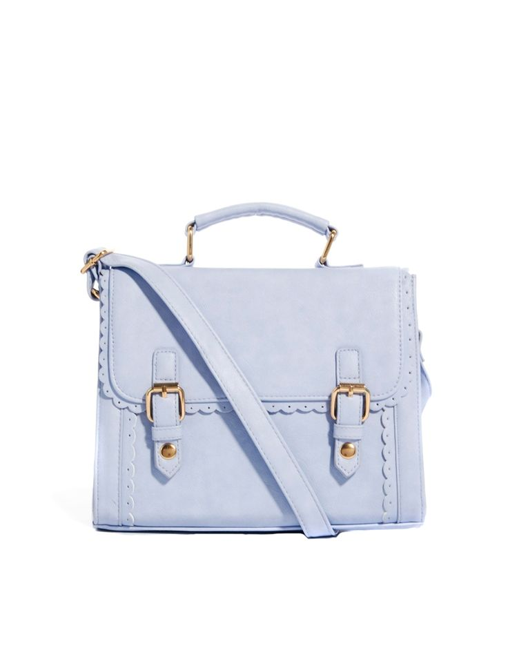 New ASOS Women Handbag Bag Satchel blue Pastel Leather Look