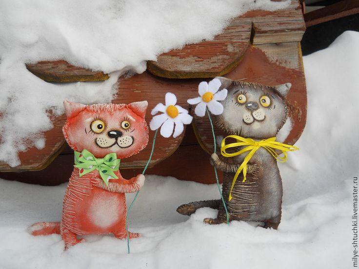 Купить Спешу поздравить!!! - кот, ромашка, подарок к 8 марта, улыбка, ручная…