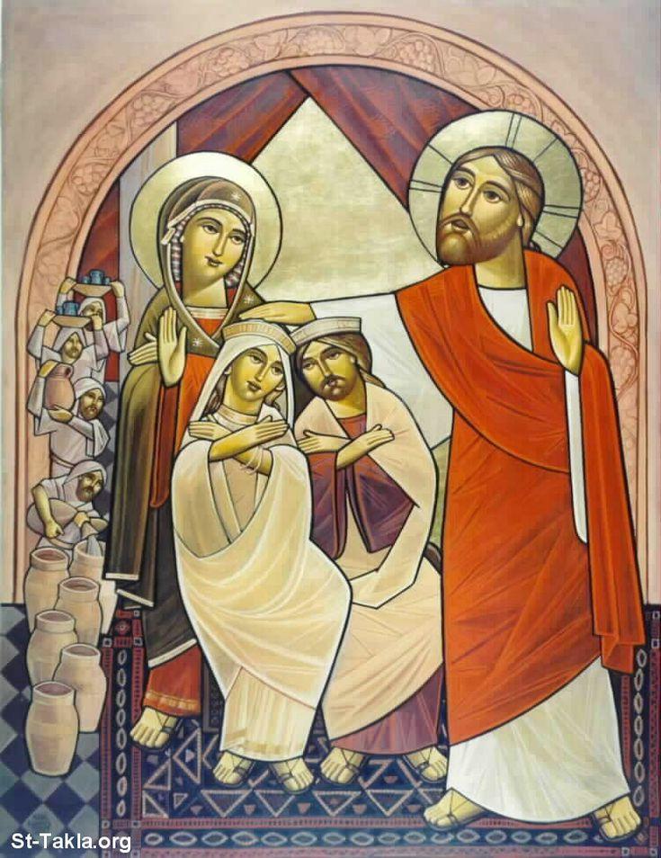 Modern Coptic icon of the Jesus at the Wedding at Cana صورة: أيقونة قبطية حديثة عن السيد المسيح في الفرح في قا...