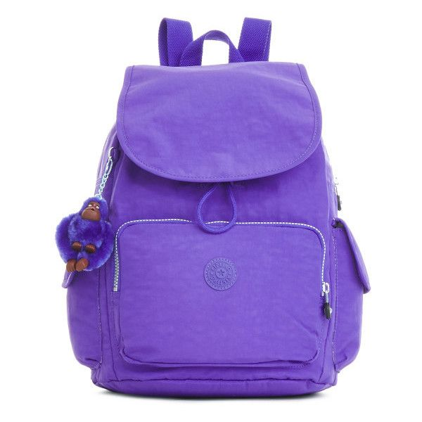 Kipling Ravier Medium Backpack ($80) ❤ liked on Polyvore featuring bags, backpacks, octopus purple, purple backpack, kipling rucksack, purple bag, strap bag and strap backpack