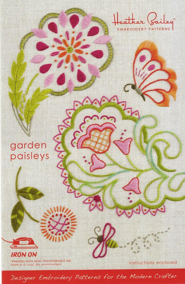 Heather Bailey Embroidery Pattern - Garden Paisleys