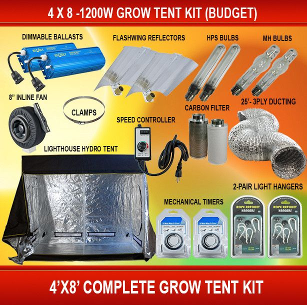 4 X 8 - 1200W Grow Tent Kit (Budget) – GrowTentStore