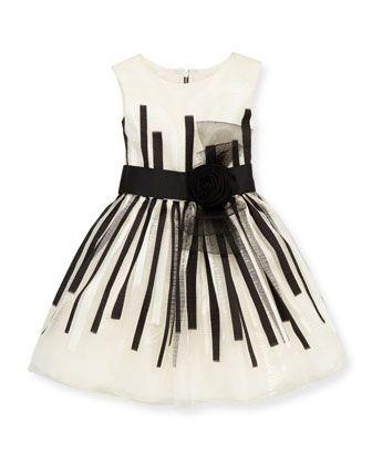 Black & White Beauty Organza Dress, White/Black, Sizes 4-6 by Zoe at Neiman Marcus.