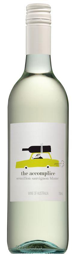 The Accomplice Semillon Sauvignon Blanc - wine labels (Wine Bottle Illustration) #cCreams #cGreens