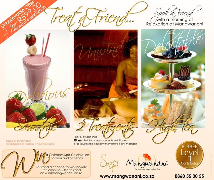 Spoil a friend with a morning of relaxation at Mangwanani. This unbelievable offer is valid from 6-7 November 2013 at our Sibaya and Zevenwacht branches and consists of a smoothie on arrival, a relaxing foot massage and your choice of either a full body massage with hot stones or revitalising facial pressure point massage.   Only R599.00 for both of you (Valued at over R1500.00)  PHONE 0860 55 00 55 NOW to book before the special ends.  T&C Apply  #Mangwanani