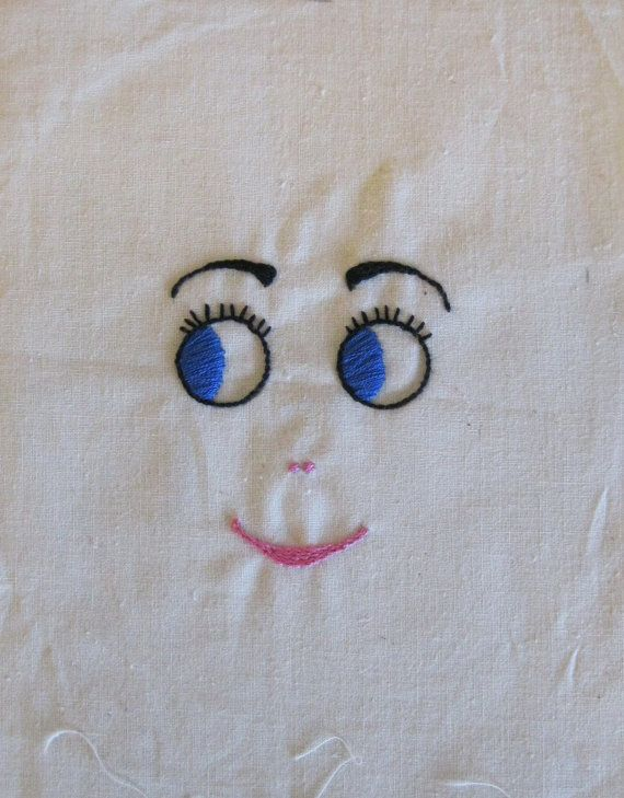 Doll Face Hand Embroidered for Stuffed Doll, Blue Pink Black on Bleached Muslin 9 x 6.5 inches