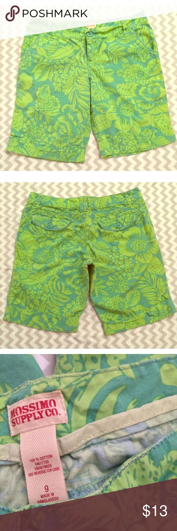 Mossimo Neon Green and Teal Floral Bermuda Shorts Mossimo Bermuda shorts in a juniors size 9. Bright lime green and blue, these shorts POP! Beautiful, summery, floral design. In great used condition, no rips or stains. Measurements- Waist: 16 in. Hips: 19 in. Length: 18 in. Inseam: 10.5 in. Mossimo Supply Co. Shorts Bermudas