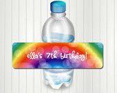 Arco iris partido agua botella etiqueta, etiqueta de la botella del arco iris, arco iris cumpleaños, etiqueta de la botella de agua