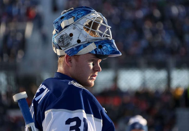 Frederik Andersen #31 of the Toronto Maple Leafs looks on during warmup during the 2017 Scotiabank NHL Centennial Classic at Exhibition Stadium on January 1, 2017 in Toronto, Ontario, Canada.