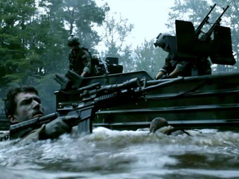 The SEALs in Act of Valor ride in Special Operations Craft-Riverine (SOC-R) boats. We had the chance to tag along on live-fire training runs on boats like these, and on a river in Kentucky that looked suspiciously like one that doubles as Costa Rica in the film.