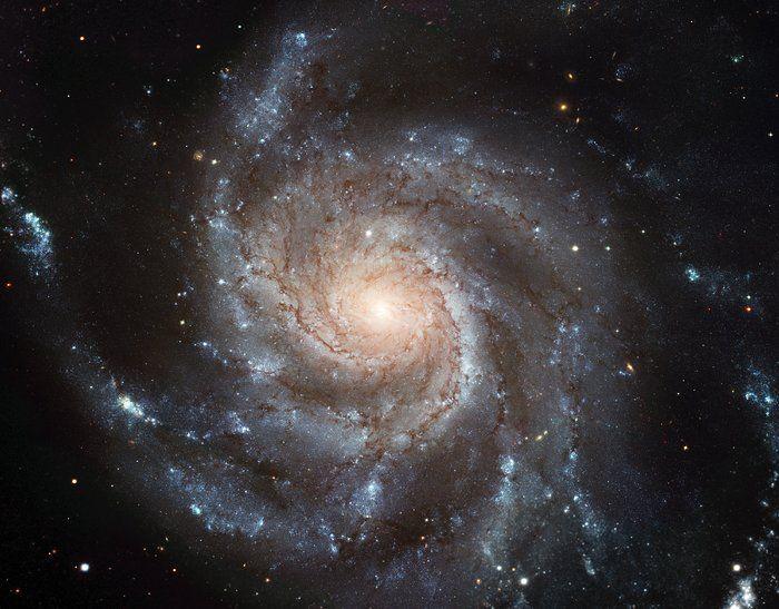 Grand design spiral, the gigantic Pinwheel Galaxy. Supergiant star-forming regions.  23 million ly distance, constellation of Ursa Major;   ESA/NASA