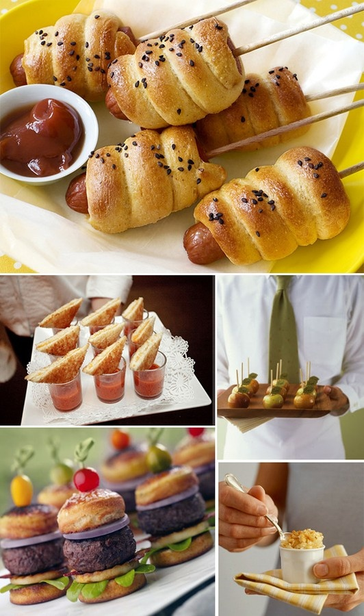 Wedding finger food ideas...mini corn dogs, grilled cheese triangles with tomato soup shots and more. This is the food I want at my wedding. yummy. #food