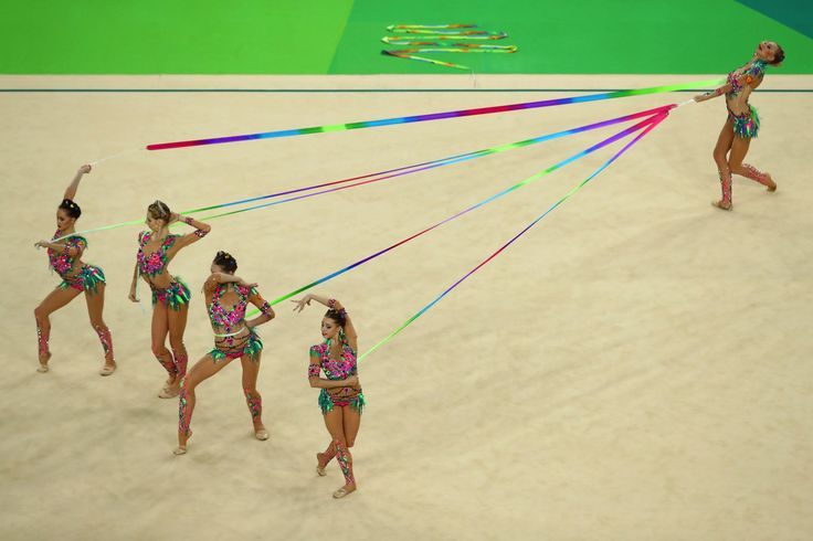 Vera Biriukova, Anastasia Bliznyuk, Anastasiia Maksimova, Anastasiia Tatareva and Maria Tolkacheva of Russian Federation compete during the Group All-Around Final on Day 16 of the Rio 2016 Olympic Games at Rio Olympic Arena on August 21, 2016 in Rio de Janeiro, Brazil.