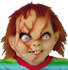 Seed Of Chucky Costume Mask:   An exact copy of the 'Dreadful Doll Head' we all love to hate.Chucky Seed of Latex Mask consists of full over-the-head latex mask, individually hand painted with hair attached.