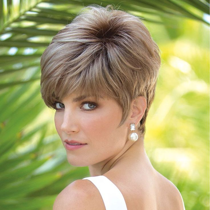 Fashion Short Brown Mixed Synthetic Ladylike Fluffy Straight Capless Wig For Women