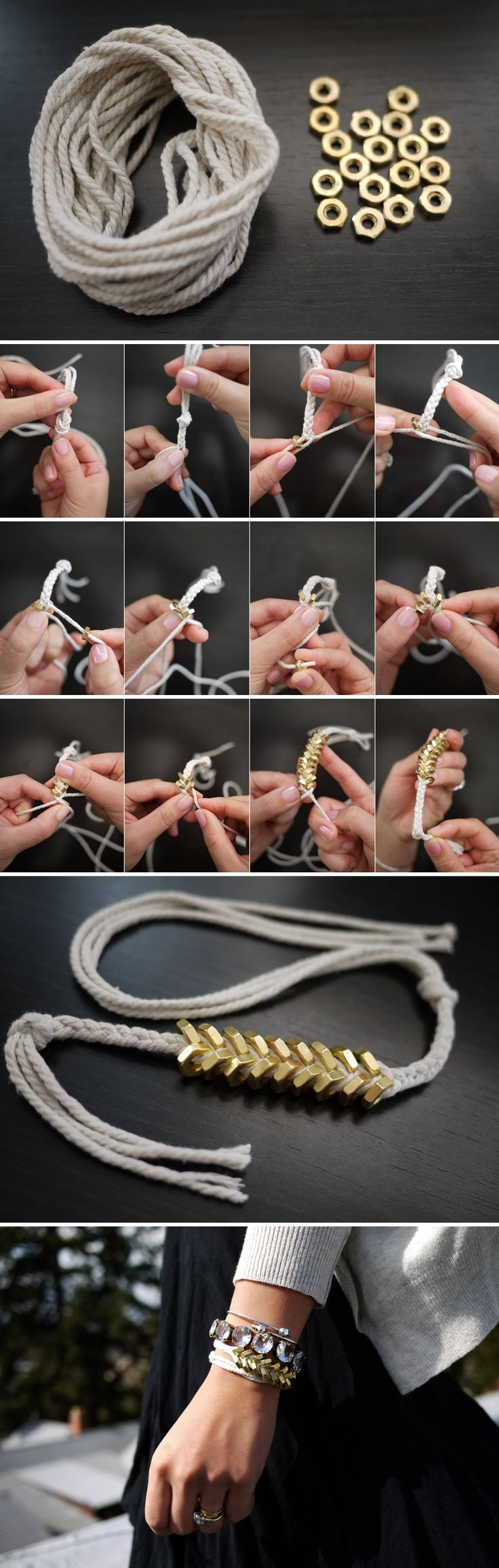 I have to try this, what a great idea for nuts and bolts! #friendship #bracelet #bolt #nut  http://honestlywtf.com/diy/diy-braided-hex-nut-bracelet/