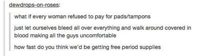 Refusing to pay for tampons