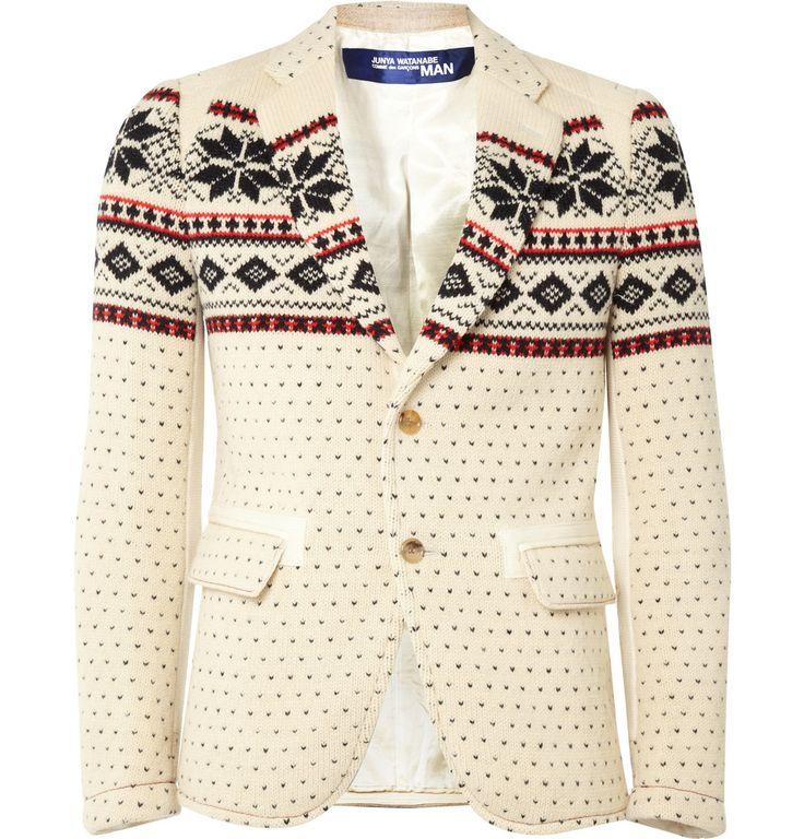 Junya Watanabe Fair Isle Knitted Wool Blazer.