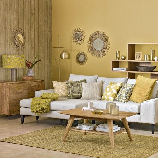 Honeycomb yellow living room with sunburst shades