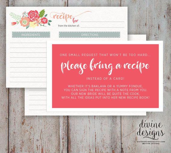 recipe card bridal shower please bring a recipe cute bridal shower idea instant download in 2018 templates pinterest bridal shower bridal