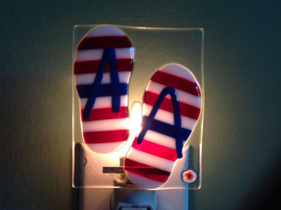 Fused Glass Celebrate Summer Red White and Blue Flip by LaGlasSea