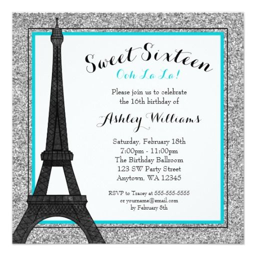 Teal Glam Paris Themed Faux Glitter Sweet 16 Invitation