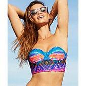 Jessica Simpson Tribal-Print Bustier Bikini Top