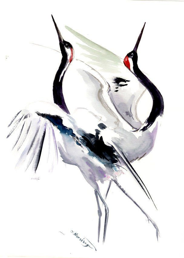 Japanese Crane Crane Artwork Asian Watercolor Art Original