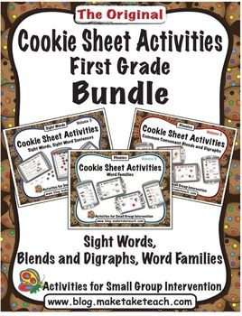 Cookie Sheet Activities bundled just for first grade!  Sight words, Blends/Digraphs and Word Families.  Great for centers!