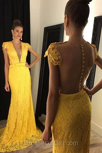 Long Prom Dresses, Lace Prom Dress, Mermaid Evening Dresses, V Neck Party Dresses, Yellow Formal Dresses