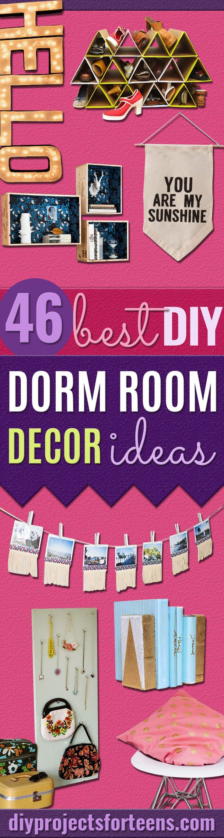 DIY Dorm Room Decor Ideas -Cheap DIY Dorm Decor Projects for College Rooms - Cool Crafts, Wall Art, Easy Organization for Girls - Fun DYI Tutorials for Teens and College Students http://diyprojectsforteens.com/diy-dorm-room-decor