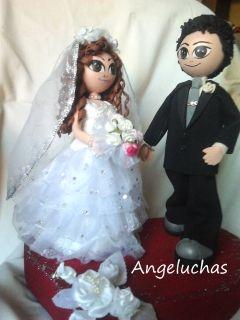 Preciosas muñecas fofuchas: Las Angeluchas, parejas de novios de boda: Los muñecos de la tarta. - Selección Japonesca