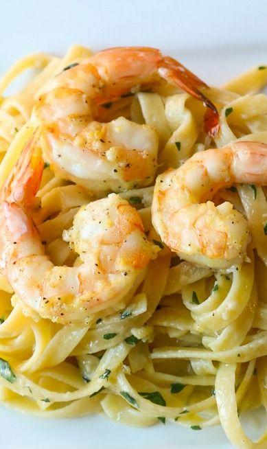 Lemon Shrimp Scampi Pasta.
