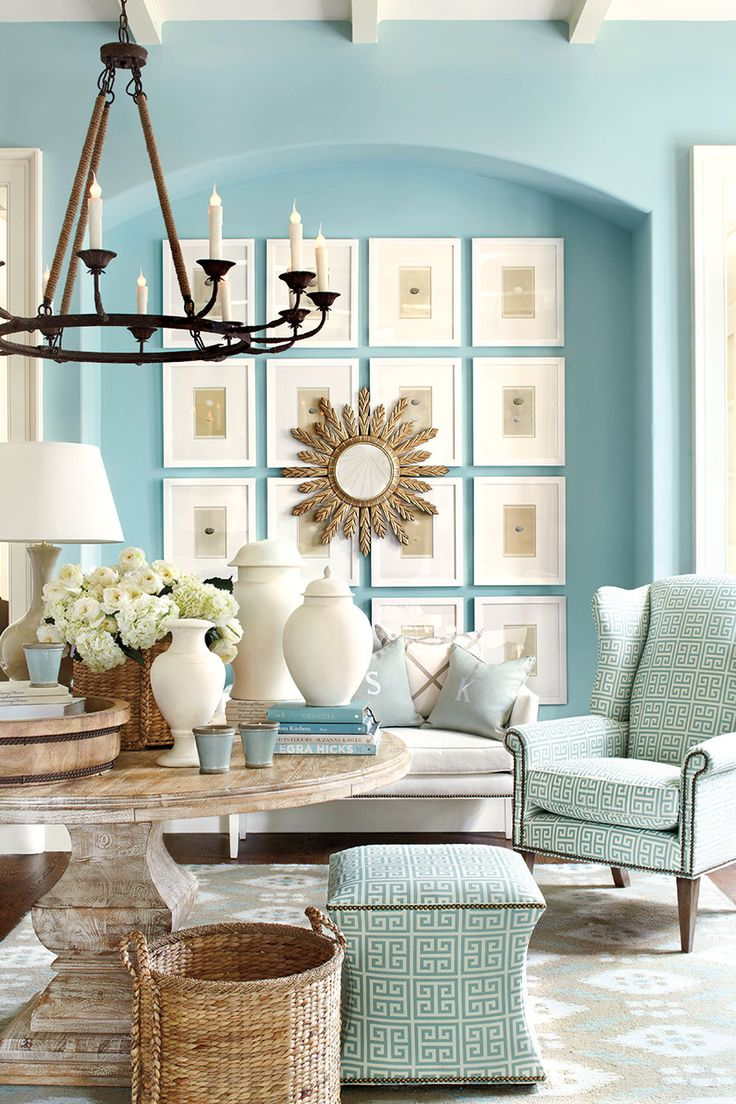 Create a dramatic focal point with a collection of art