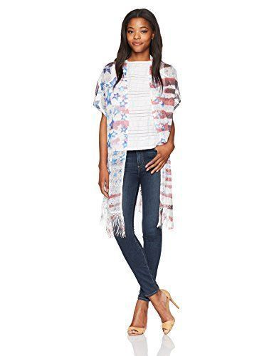 July 4th Women's clothing is hotter than ever this year for summer 2017. Bold shades of red, white and blue clothing is not only stylish but sexy. Women's Patriotic clothing has never been so cute, adorable and stylish. You will love all these summer fashions! Consider getting you some American Flag clothing and show your love, pride and passion for America this July 4th OneWorld Women's Short Sleeve Open Front Patriotic Topper With Fringe, Americana Trust/Purity, M