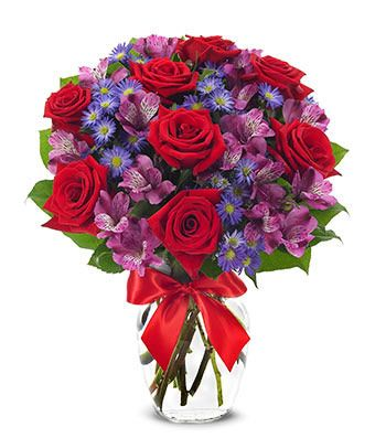 Scent of Love  $66.99 .  This magnificent arrangement boasts a glorious combination of red roses, purple alstroemeria and purple Monte Casino blooms in a clear vase with bright red satin ribbon.