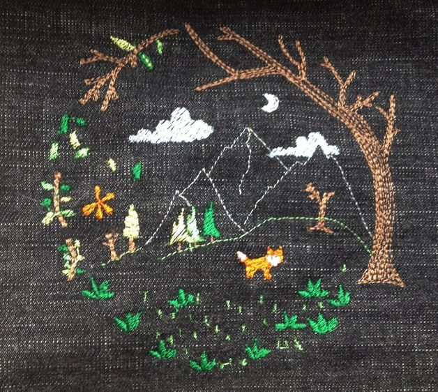 Black embroidery Tote Bag