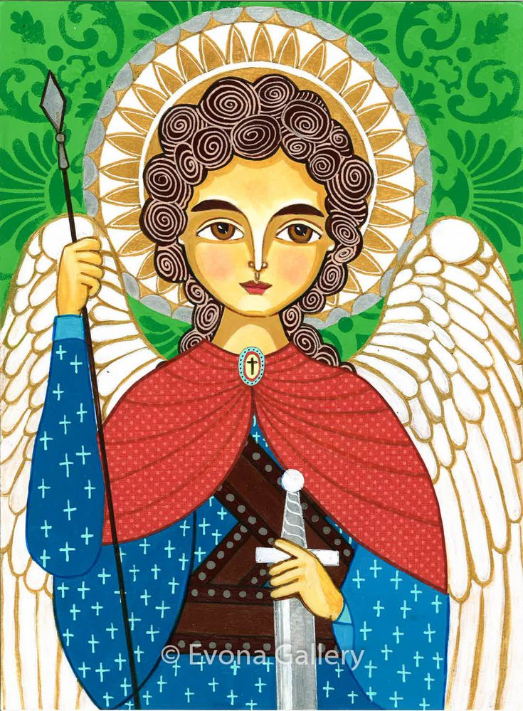 Folk Art Painting, Icon of Saint Michael the Archangel , Print on Wood (9x12inches, 23x31cm), Mixed Media, Wall Decore by Evona. $30.00, via Etsy.