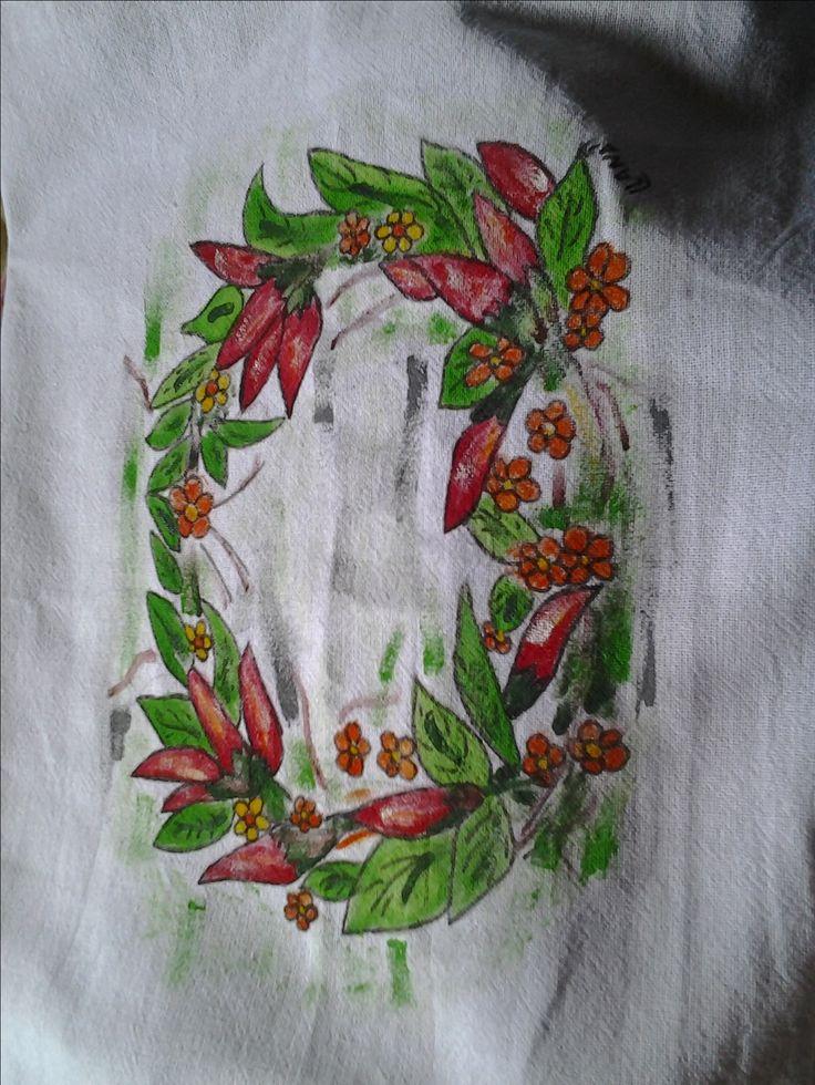 Guardanapo pintado a mão com desenho feito por mim, de circulo de pimentas com sombreamento,ponto de luz efundo riscado!