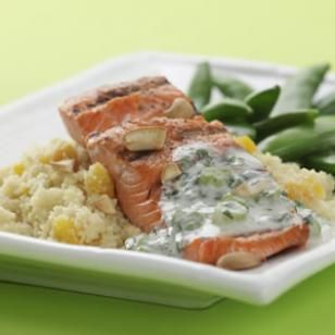 Cashew Salmon with Apricot Couscous Recipe from Eating well.  Ingredients: plain yogurt, scallions, lemon juice, cilantro, cumin, extra-virgin olive oil, dried apricots, ginger, whole-wheat couscous, salmon fillet (skinned), toasted cashews